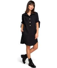 81d8f1316c45 BE WEAR Čierne košeľové šaty s krátkym rukávom a troma drevenými gombíkmi  B112