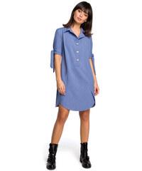8adb71b3ecbc BE WEAR Modré košeľové šaty s krátkym rukávom a troma drevenými gombíkmi  B112