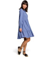 b20b8d26b4ec BE WEAR Modré košeľové šaty s volánmi a dlhým rukávom B110