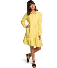 f387adfba585 BE WEAR Žlté košeľové šaty s volánmi a dlhým rukávom B110