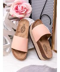 MODANOEMI Korkové stylové růžové pantofle Bo Aime GM7221-H87R ce76cfb5720
