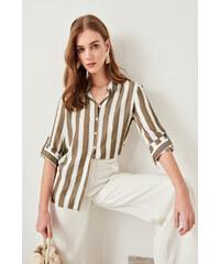 Trendyol Gray-Striped Shirt Khaki 73df9a374bb