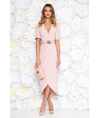 64ed81072f StarShinerS Rózsaszínű elegáns ruha enyhén rugalmas anyag flitteres  díszítés öv típusú kiegészítővel szűk szabás