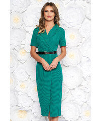 6326ebbec8 StarShinerS Zöld hétköznapi midi ruha szűk szabás enyhén rugalmas szövet öv  típusú kiegészítővel