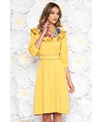 Sárga StarShinerS elegáns bő szabású ruha enyhén rugalmas szövet hímzett  belső béléssel övvel ellátva 86327ab196