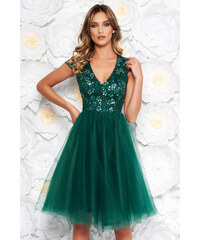 f28f6eaa57 StarShinerS Zöld Artista alkalmi tüll harang ruha flitter belső béléssel  hímzett betétekkel