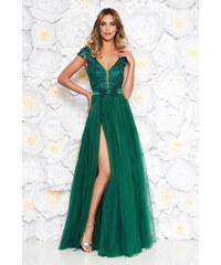 c3dfbdcf0d StarShinerS Artista zöld alkalmi tüll ruha belső béléssel szivacsos  mellrész virágos díszek 3d effekt