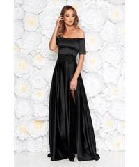 5ff0aaab36 StarShinerS Alkalmi fekete Artista ruha szatén anyagból hímzett betétekkel