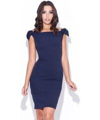 Pouzdrové šaty KATRUS s mašlemi na ramenou S modrá