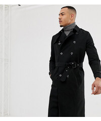 231e2dcb529 ASOS DESIGN Tall shower resistant longline trench coat with belt in black -  Black
