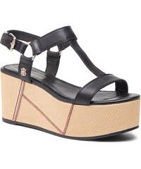 0f767d33e7 Szandál TOMMY HILFIGER - Elevated Leather Flatform Sandal FW0FW03944 Black  990