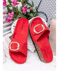528a47d78a4b MODANOEMI Rozkošné korkové červené šľapky Ideal shoes L-1030CE