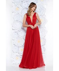 5574ed4896 Piros StarShinerS alkalmi tűll ruha masni díszítéssel v-dekoltázzsal
