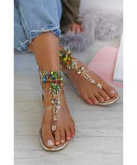 7a5e460745df Zlaté Dámske sandále na podpätku