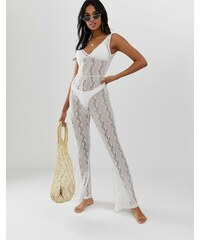 da7eeadcd9 ASOS DESIGN plunge lace beach jumpsuit with flare trousers - White