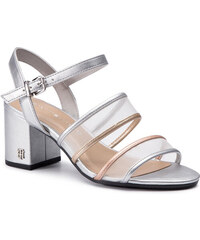 Sandále TOMMY HILFIGER - See Through Detail Heeled Sandal FW0FW03841 Silver  000 d935c16658