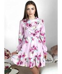 46456167248b ZAZZA Svetlo-ružové kvetinové šaty s odhaleným chrbtom