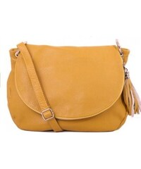 TALIANSKE Talianska veľké kožené kabelky crossbody žlté Angela 1ffd1a2c900