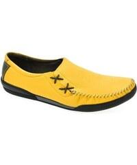 Krezus Mokasíny Pánske žlté kožené poltopánky ARMAN Krezus b2da85d052