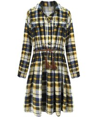 2ed4a9b15 MADE IN ITALY Bavlněné kárované šaty ve tmavě modré a hořčicové barvě  (188ART)