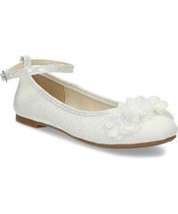 ef571e8a03c8 Mini B Dievčenské biele baleríny s kytičkami
