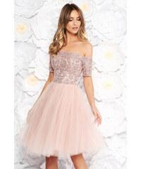e615c569e2 StarShinerS Rózsaszínű Artista alkalmi harang ruha csipkés anyag tűll  szivacsos mellrész flitteres díszítés