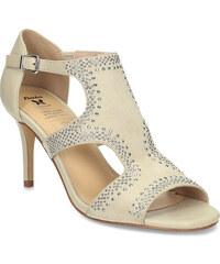 56ceb4320557 Insolia Béžové dámske sandále na podpätku s kamienkami