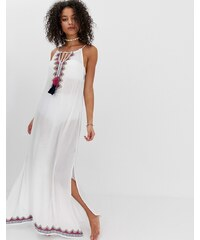7a84610f1505 Pia Rossini mandalay maxi tassle beach dress - White