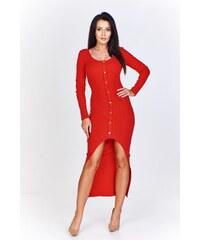 eb71e0be1e06 PTAK šaty z žliabkovaný textil z kratšie predné ozdobený guziczkami a  distance na bočné (U