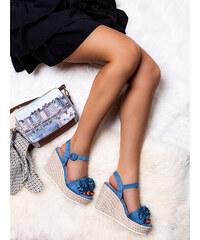 25c18b0b2214 MODANOEMI Dámske semišové modré sandále na platforme 690026M