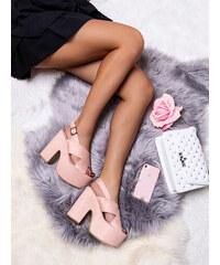 63649a5dfc8a MODANOEMI Elegantné ružové sandálky s hrubým opätkom F245R