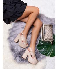 6387983a77b6 MODANOEMI Elegantné béžové sandálky s hrubým opätkom F245BE