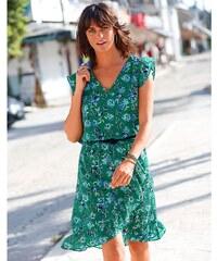 a8918139d3dc Blancheporte Volánové šaty s potiskem květin zelená indigo