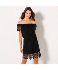 3b6f4f408c10 Blancheporte Macramé šaty s pružným výstrihom čierna