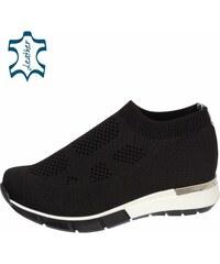 6aab43dcd3bb OLIVIA SHOES Čierne členkové ponožkové tenisky TITANIO 3045