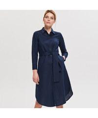 Reserved - Košilové šaty ze směsi lnu a bavlny - Tmavomodrá 882194be17a