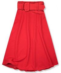 76f19aaff5c8 Trendovo Červená midi sukňa s opaskom