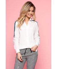 43b932a170 StarShinerS Fehér casual női ing enyhén elasztikus pamut hosszú ujjakkal bő  szabással