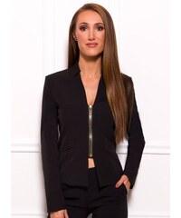 72022c5b36e4 Glamorous by Glam Dámske elegantné sako na zips - čierna