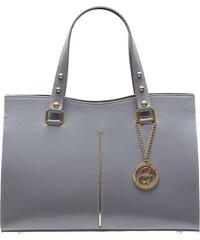 3f7bfaaefd Glamorous by GLAM Dámska kožená kabelka so zlatým prúžkom - šedá