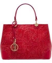 458c875f26 Glamorous by GLAM Dámska kožená kabelka radenie s kvetmi - červená