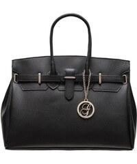 d12280679a Glamorous by GLAM Dámska kožená kabelka so strieborným kovaním - čierna