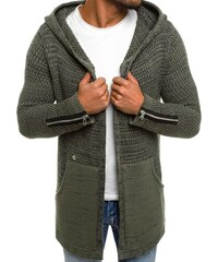 66ef0ff1324c Khaki sveter BREEZY B9025S s kapucňou