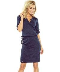 6ab3ac06aa33 Numoco Svetrové šaty s límečkem tmavě modré