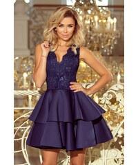 bd1e21dbec95 Numoco Exkluzivní šaty s krajkovým výstřihem námořnicky modré