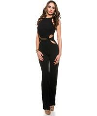 eabe85c7a4d2 Koucla Černý elegantní overal s širšími nohavicemi