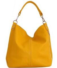 6c7ce75943 TALIANSKE Talianska Veľká kožená kabelka na plece vrecovitá žltá Ludmila