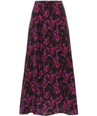 3db5ba2fd0cc Les Reveries high-waisted floral print front slit silk midi skirt - Black