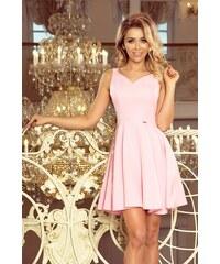 be6effb12c34 Numoco Šaty se srdíčkovým výstřihem pastelově růžové