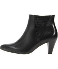 30a0af9a0e Čierne kožené členkové topánky na nízkom podpätku Gabor